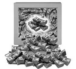 денежный поток из монитора вашего компьютера